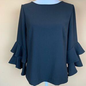 J. Crew black ruffled layered blouse top